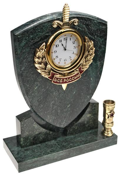 Часы Щит ФСБ РФ с п/п 7.5.103.1. Часы настольные с символикой. Художественное литье из бронзы. Каталог